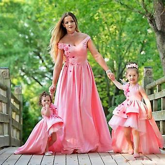 High Low Mother Dcéra Kvetinové šaty na svadbu (Sada 1)