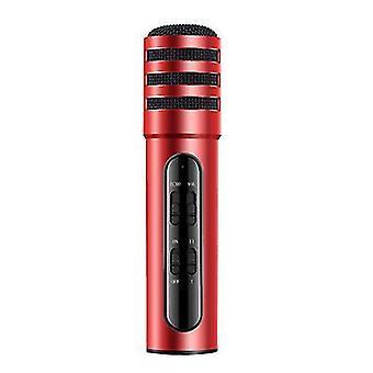 Grabación de canciones en vivo, micrófono de tarjeta de sonido, teléfono móvil y micrófono compatible con computadora (rojo)