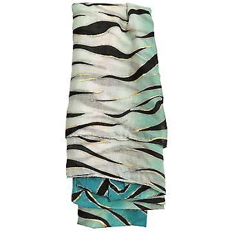 Cyan Metallic Zebra Print Scarf by Butterfly Fashion London