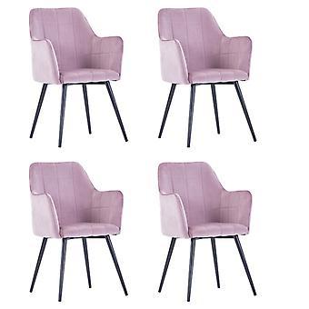 vidaXL chaises à manger 4 pcs de velours rose