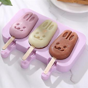 19cm Silicone Ice Cream Mold Popsicle Molds Ice Cube Tray DIY Homemade Cartoon Mould(Purple)