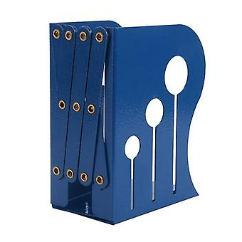 Bookends Iron Adjustable Books Holder Stand Desk Heavy Duty Non Skid Bookend(Blue, Small)|