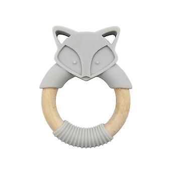 1pc Silicone Baby Teether Fox Animals Toys Wooden Rings Teether  Baby Products