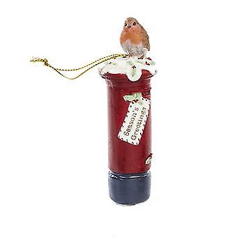 LAST FEW - 10cm Résine Décoration suspendue de Noël   Robin sur une boîte aux postes