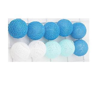 الحبال الخفيفة سلاسل خرافية زرقاء 4cm القطن كرات سلسلة أضواء