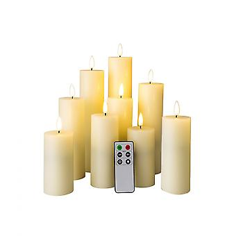 Rebecca Furniture Set 9 Electric Candles Led Ivory Without Flame Hot Light With Remote Control