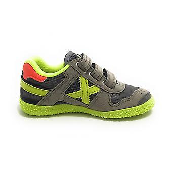 Scarpe Bambino Munich Sneaker Con Strap Mini Goal Ecopelle/ Tessuto Grigio Zs21mu14 1511