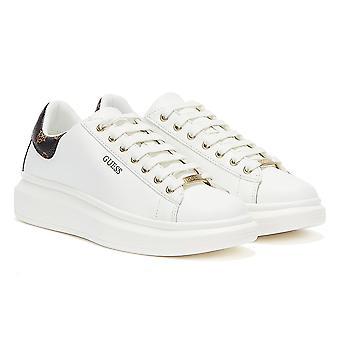 GUESS Salerno Damen Weiß / Ocker Sneaker