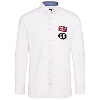 Hackett Slim Fit GB Badge Oxford Skjorta