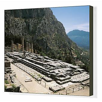 Greece, Delphi, archaeological site, Ruins of Temple of Apollo. Box Canvas Print. Greece - Delphi,.