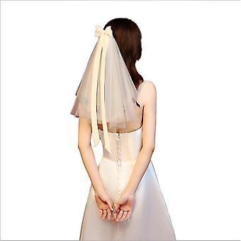 Bridal Veil Women's Tulle Short Bachelorette Party Wedding Veil Ribbon Bow-knot