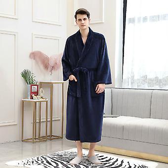 Мужская плюшевая фланелевая овер-сайз Мягкий флисовый халат
