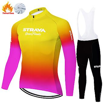 Strava Men's Long Sleeve Cycling Jerse Full Sleeve Winter Thermal Cold Wear Fleece Set /yellow