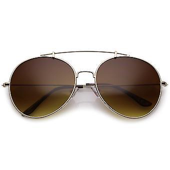 Ronda de clásico Aviator Metal gafas de sol barra brazos Slim lente de 65mm