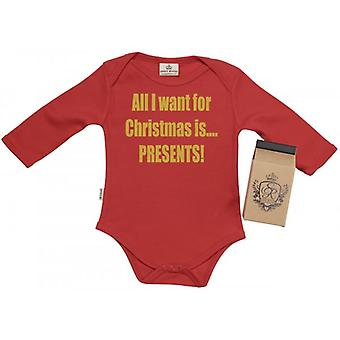 Spoilt Rotten All I Want... PRESENTS Babygrow 100% Organic Cotton