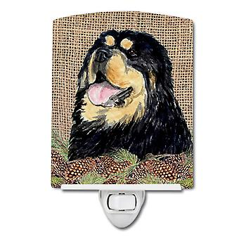 Tibetan Mastiff on Faux Burlap with Pine Cones Ceramic Night Light