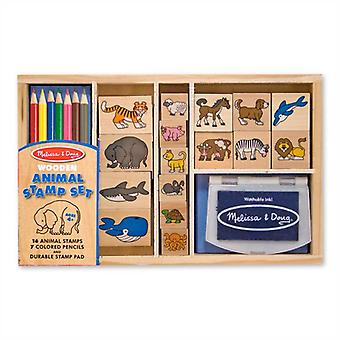 Melissa & Doug Wooden Animals Stamp Set Age 4+ Childrens Craft