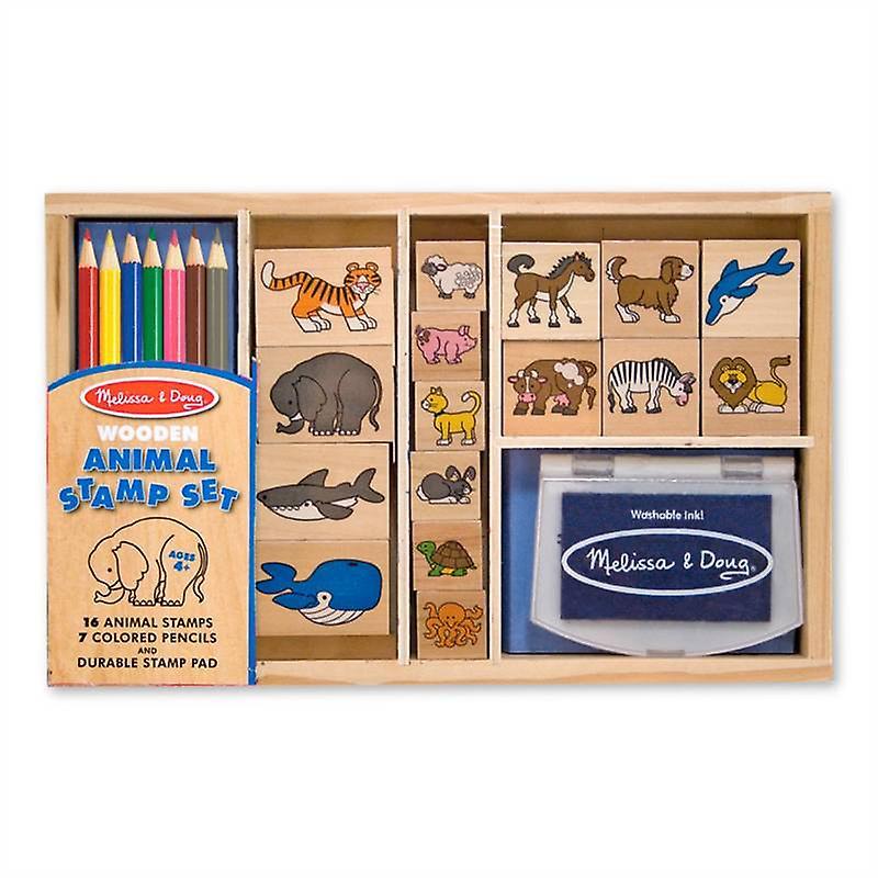 Melissa & Doug Wooden Animals Stamp Set Age 4+ Childrens Craft