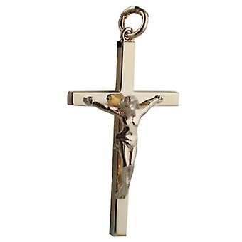 9ct or 40x24mm bloc solide Crucifix Croix