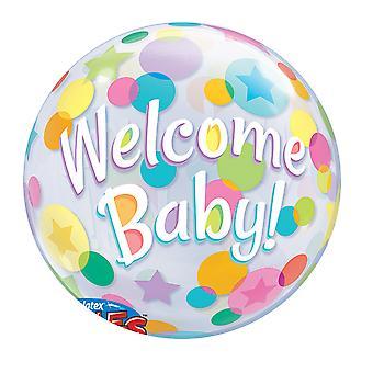 Qualatex 22 Inch Welkom Baby Polka Dot Bubble ballon