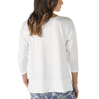 Mey 16806-405 女性&アポス;s Night2Day オフ ホワイト ソリッド カラー パジャマ 3/4 スリーブ パジャマ トップ