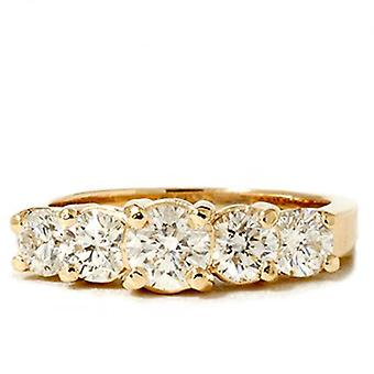 2ct Lab oprettet Diamond 5-sten Engagement Anniversary Ring 14K gul guld