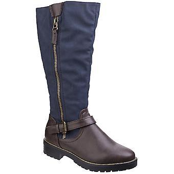 Divaz das mulheres/senhoras Divaz Manson contraste joelho alto com zíper botas