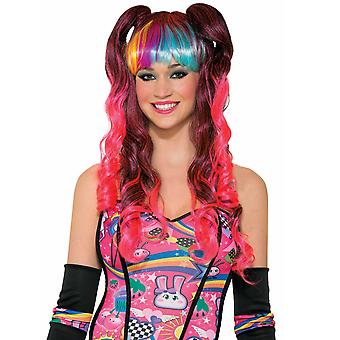 Sugar Bitter Sweet Vibe Rainbow Fairy Crown Pigtails Rave Women Costume Wig