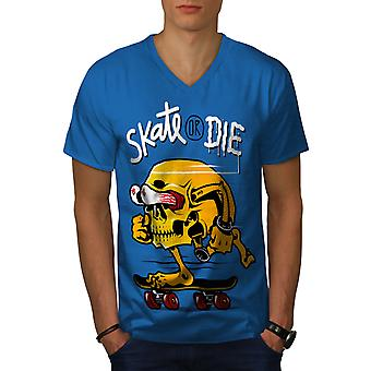 Skate Or Die Skull Funy Men Royal BlueV-Neck T-shirt | Wellcoda