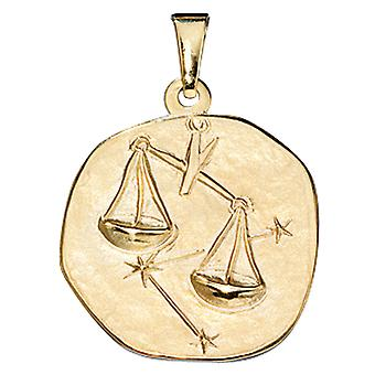 Pendant star sign Libra gold of yellow gold 333, ASTRO