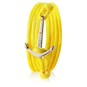 Schipper anker armband nylon geel met gouden anker 7360
