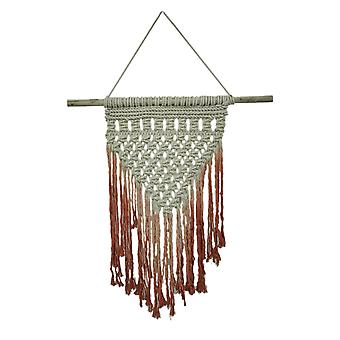 Hand Dyed Red Boho Style Macrame Wall Hanging 43 X 30 Inches