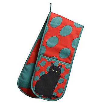 Leslie Gerry zwarte kat Design dubbele Oven handschoen
