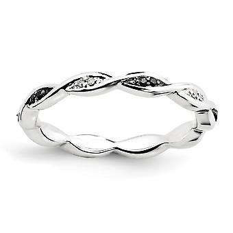 925 Sterling Silver Polished Prong set Patterned Stackable Expressions Preto e Branco Anel de Diamante Presentes de Joias para Wo