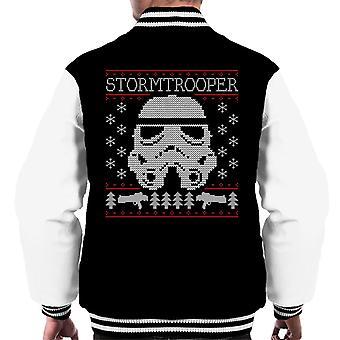 Original Stormtrooper Helmet Christmas Knit Pattern Men's Varsity Jacket