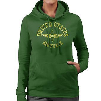 US-Luftwaffe geflügelte Propeller gelben Text Damen Sweatshirt mit Kapuze