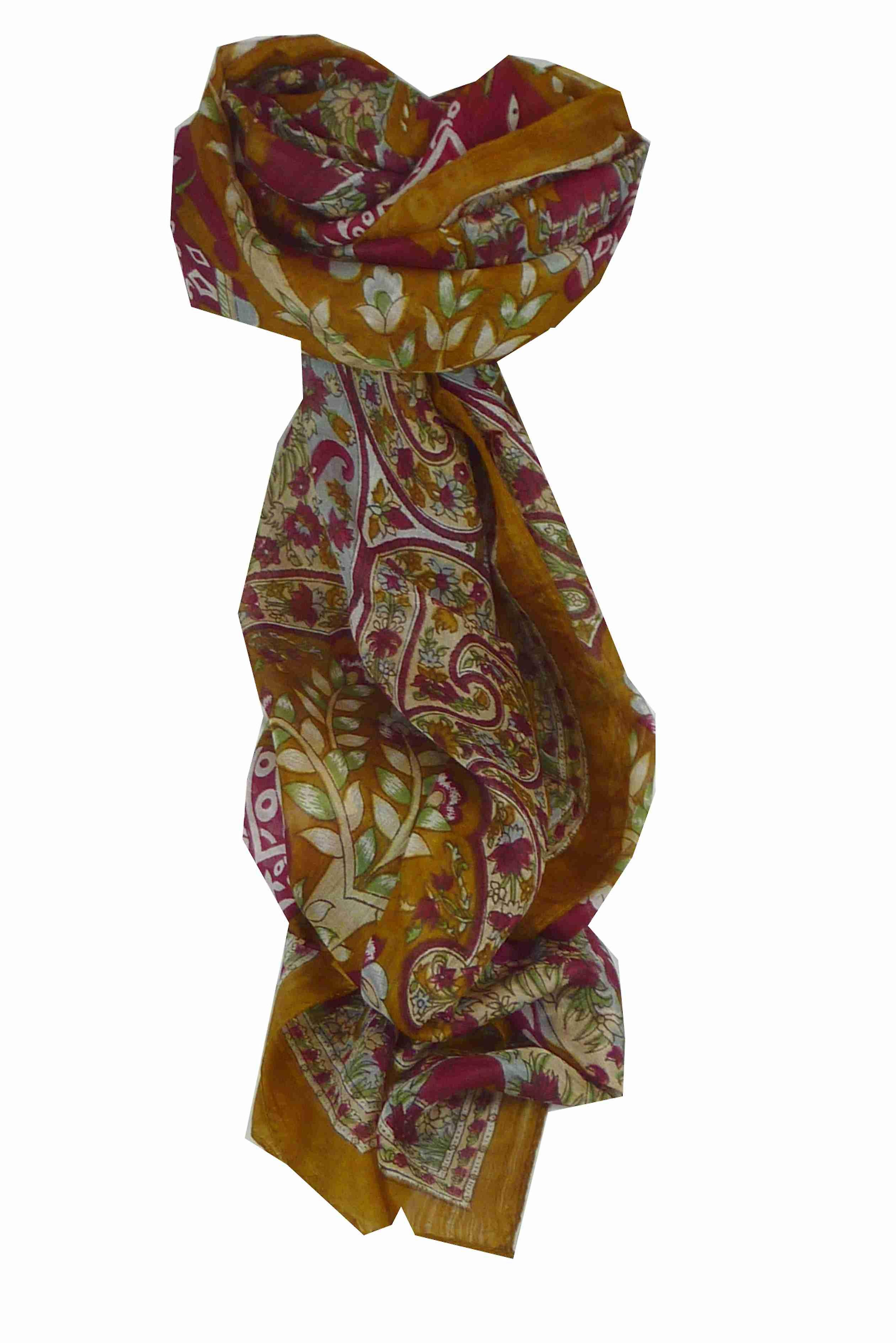 Mulberry Silk Traditional Long Scarf Nam Chestnut by Pashmina & Silk