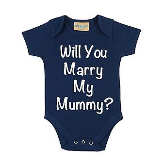 Will You Marry My Mummy? Navy Blue Short Sleeve Baby Grow