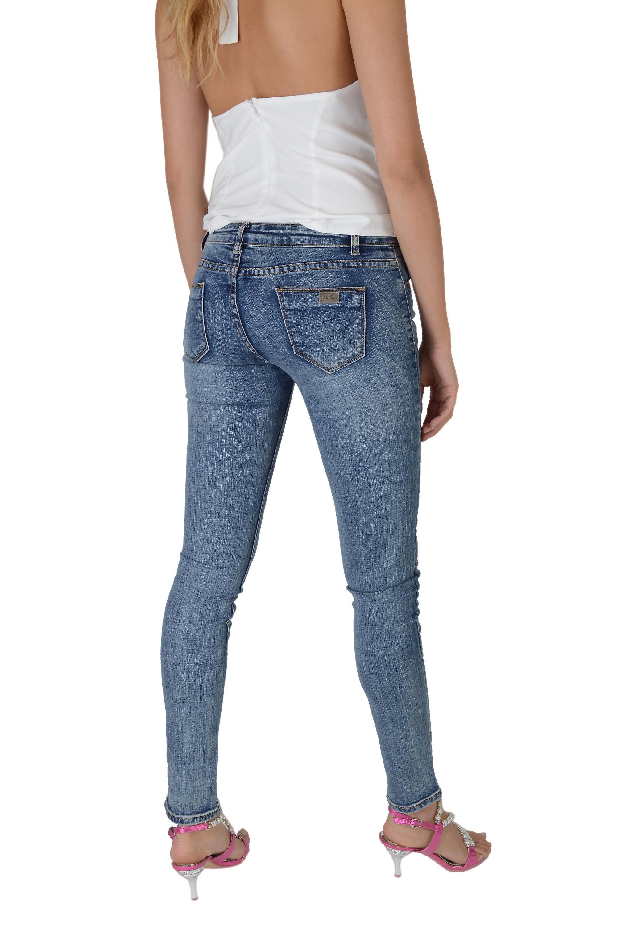Lovemystyle Acid Wash Skinny Leg Blue Low Rise Jeans