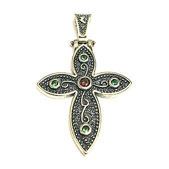 Oksidert Sterling sølv bysantinske stil krysse anheng