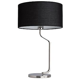 Glasberg - Chrome Table Lamp With Black Fabric Shade 628030201