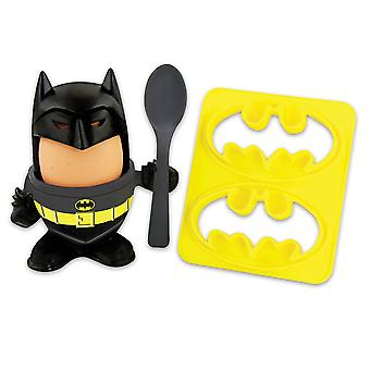 Batman egg Cup and toast cutter black, yellow, plastic, in point of view box.