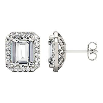 Moissanite de ouro branco 14K por Charles e Colvard 8x6mm Esmeralda brincos, 4.16cttw DEW