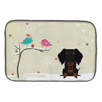 Christmas Presents between Friends Wire Haired Dachshund Black Tan Dish Drying M