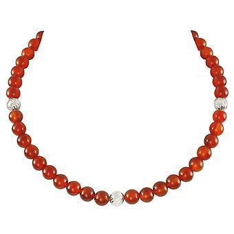 Eternal Collection Debutante Carnelian Semi Precious Beaded Silver Tone Necklace