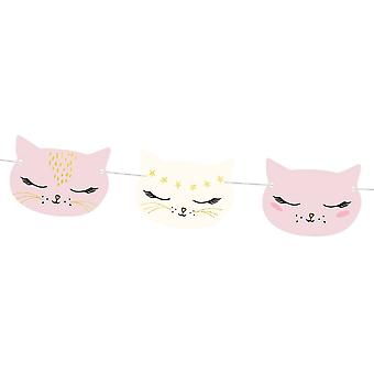 Cat Face Garland Bunting 3m Childrens Party Bedroom Decoration