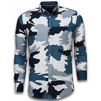 E Shirts - Slim Fit - Classic Army Pattern - Blue