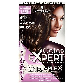 Schwarzkopf Color expert 4,13 mörk cool Brown Omegaplex permanent hår färg x3