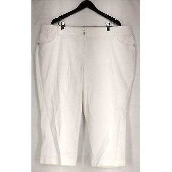 الفاني بلس السراويل نحيل الساق الراحة الخصر كابري السراويل البيضاء النساء