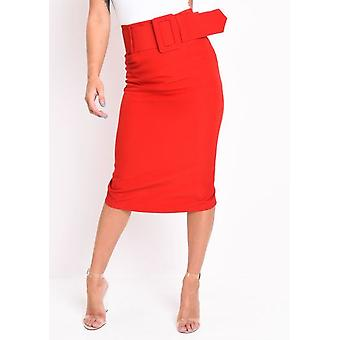Belted Fitted Pencil Midi Skirt Red